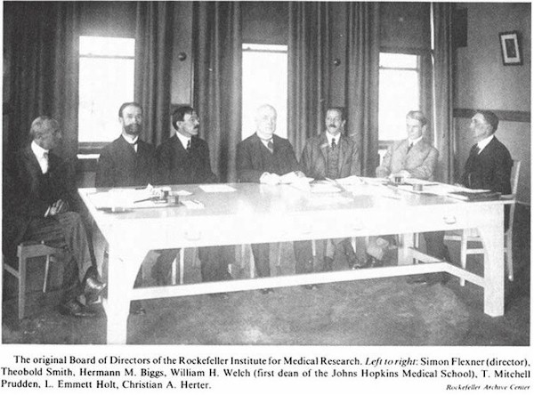 The orginal board members of the Rockefeller Institute for Medical Research.