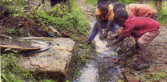 Children play in a sewage stream in the Harare suburb of Dzivaresekwa